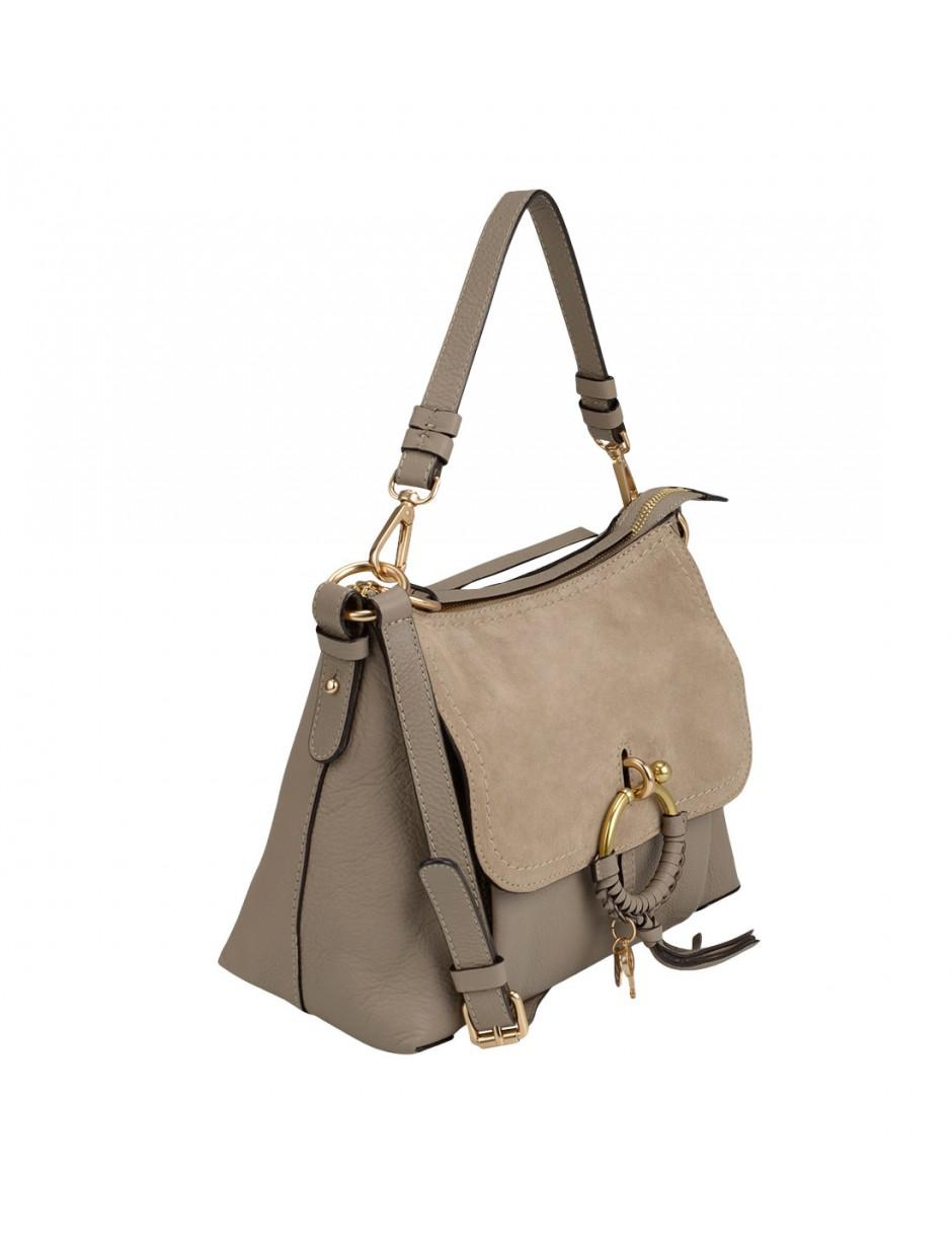b6cc1bd3 See By Chloé Gray Joan Grained Leather Bag Motty Grey