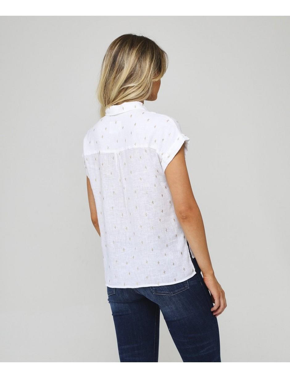 Rails Womens Linen Blend Whitney Golden Cactus Shirt White