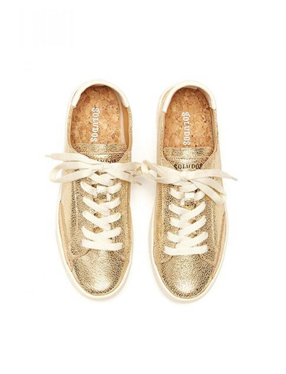 Soludos Leather Ibiza Lace Up Sneaker in Gold (Metallic)
