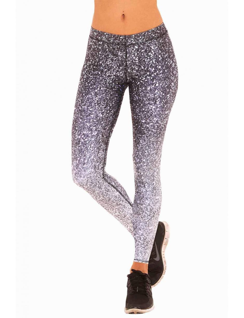 Lyst - Terez Black   White Glitter Performance Leggings in Black c5d04947491b