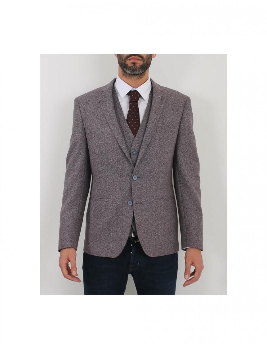 Remus Uomo Wool Torelli Jacket in Burgundy (Grey) for Men