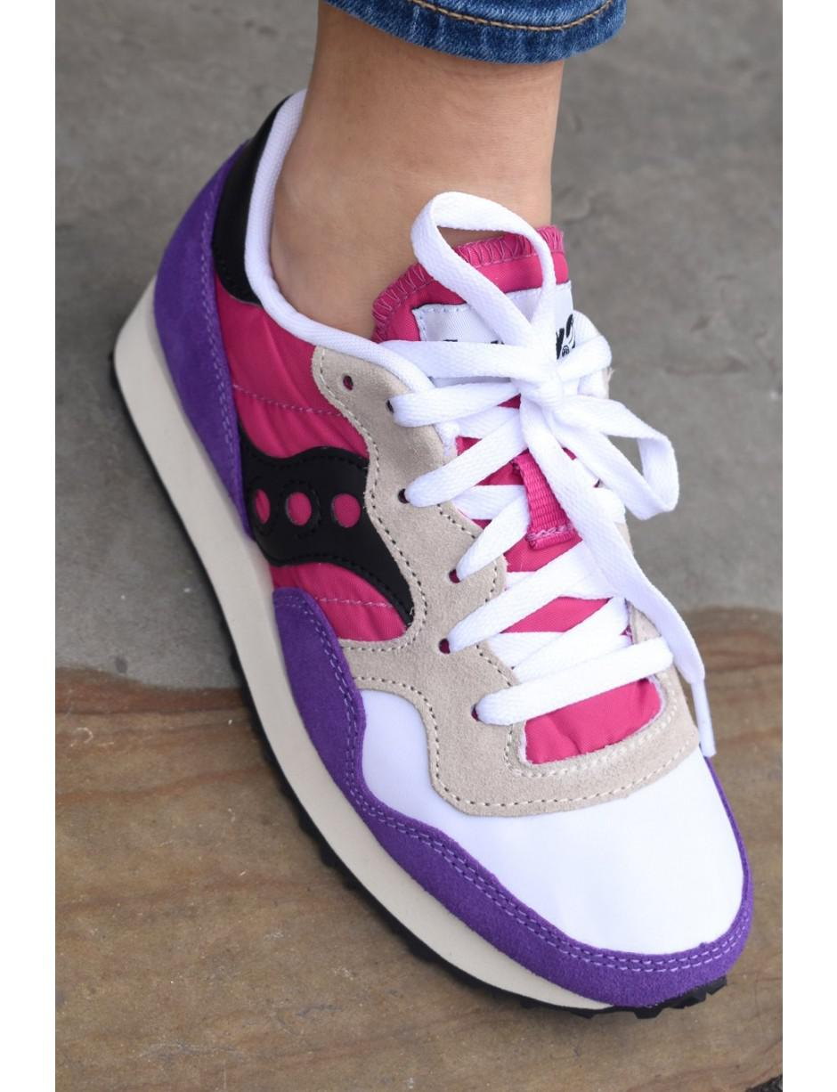 Saucony Synthetic Dxn Vintage White, Purple & Pink Trainers