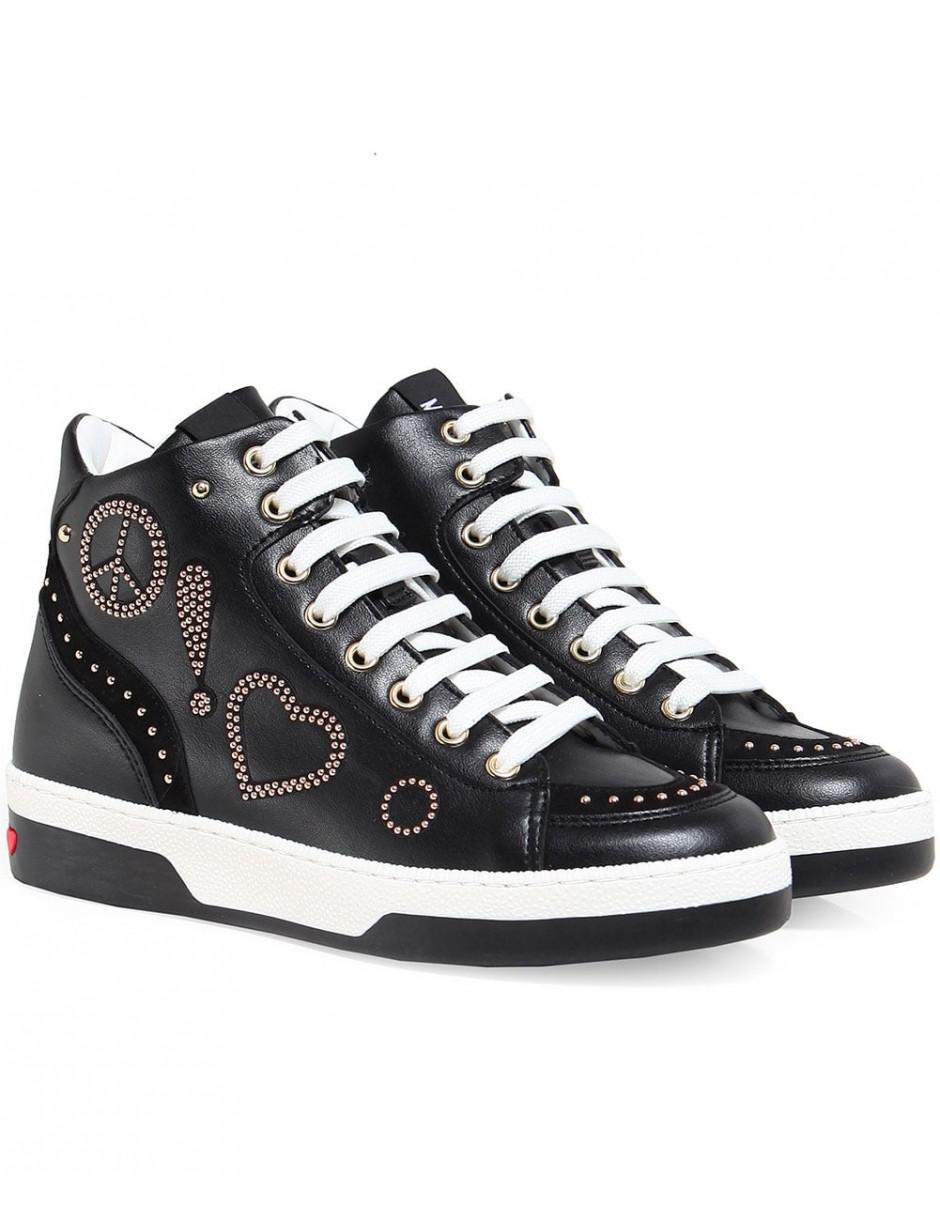 Moschino Love Leather Peace High Top Trainers in Black