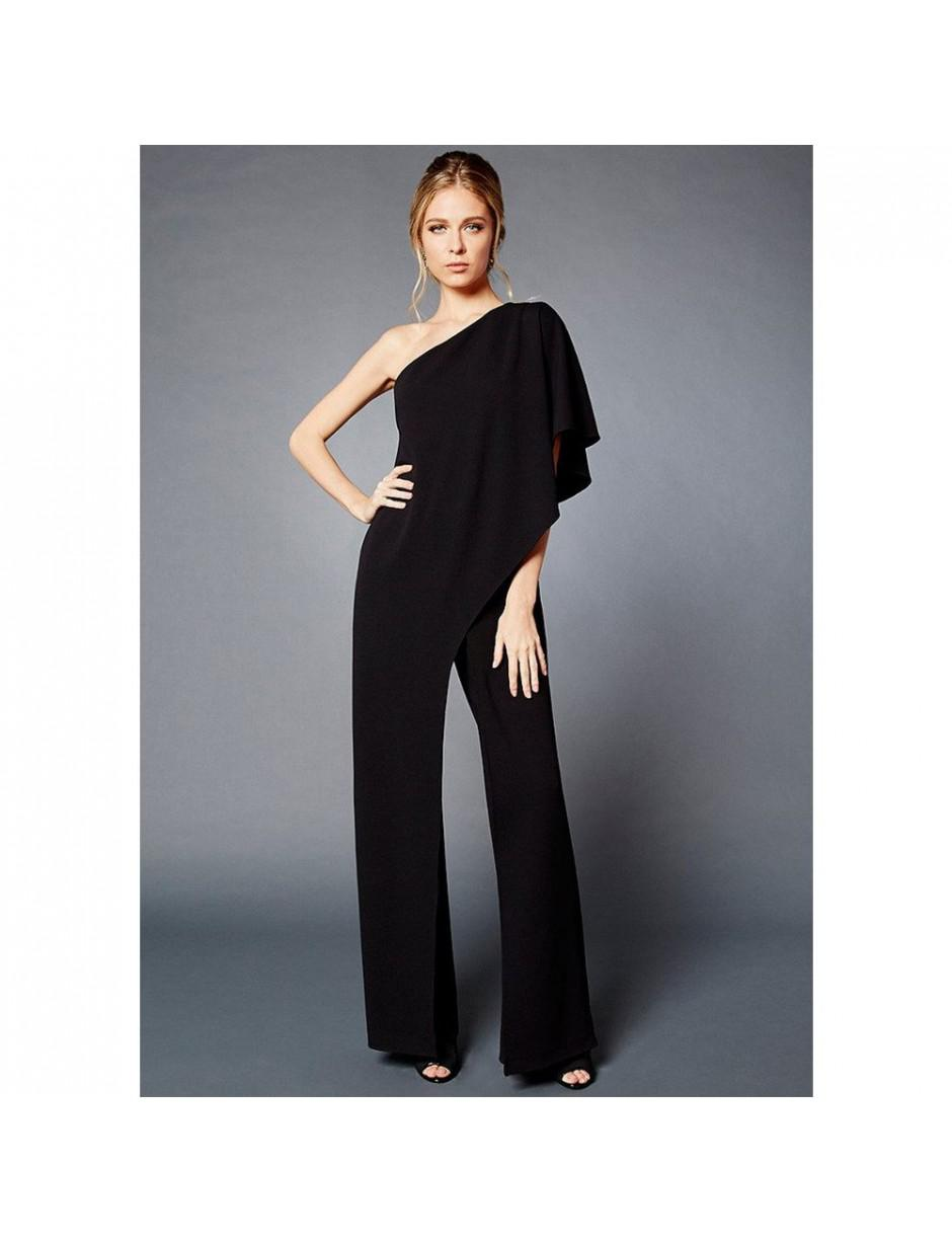 275c9b046b5a Lyst - Adrianna Papell One Shoulder Crepe Jumpsuit With Bow Accent ...