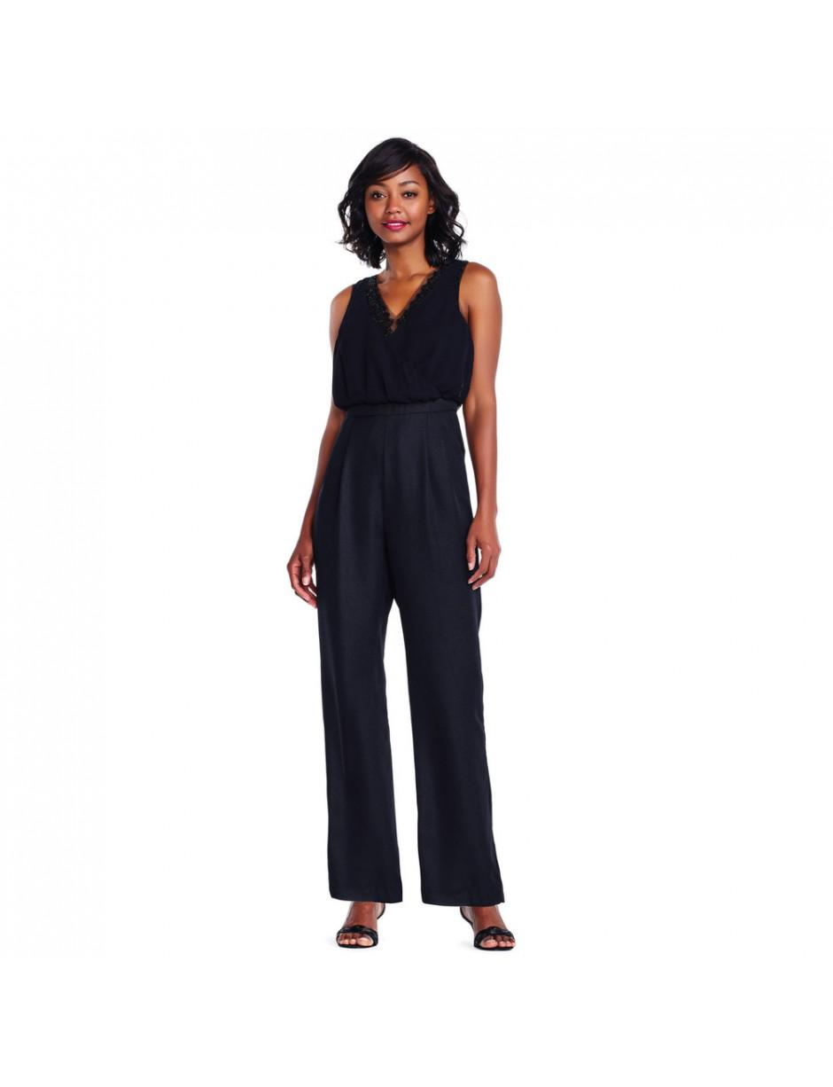 65fcb4fbb52e Adrianna Papell Adriannapapell Beaded Georgette Wide Leg Jumpsuit in ...