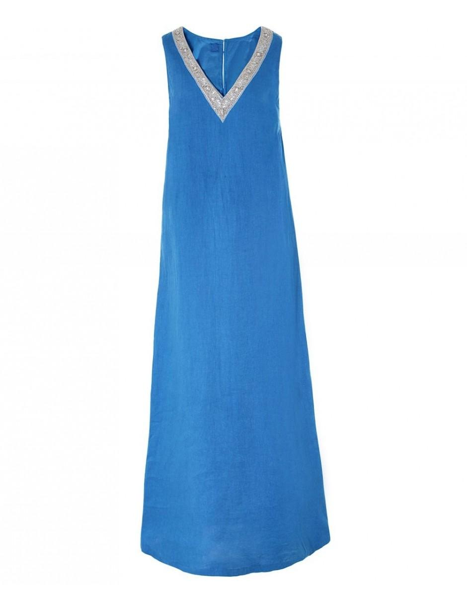 dd5a85ca64 Lyst - 120% Lino 120% Lino Linen Beaded V Neck Maxi Dress in Blue