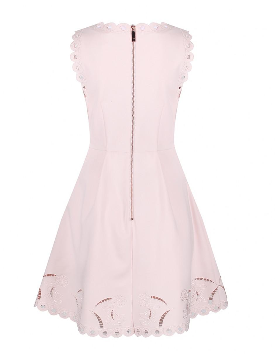 aa983ef1ca0f Lyst - Ted Baker Women s Emalise V-neck Embroidered Skater Dress in Pink