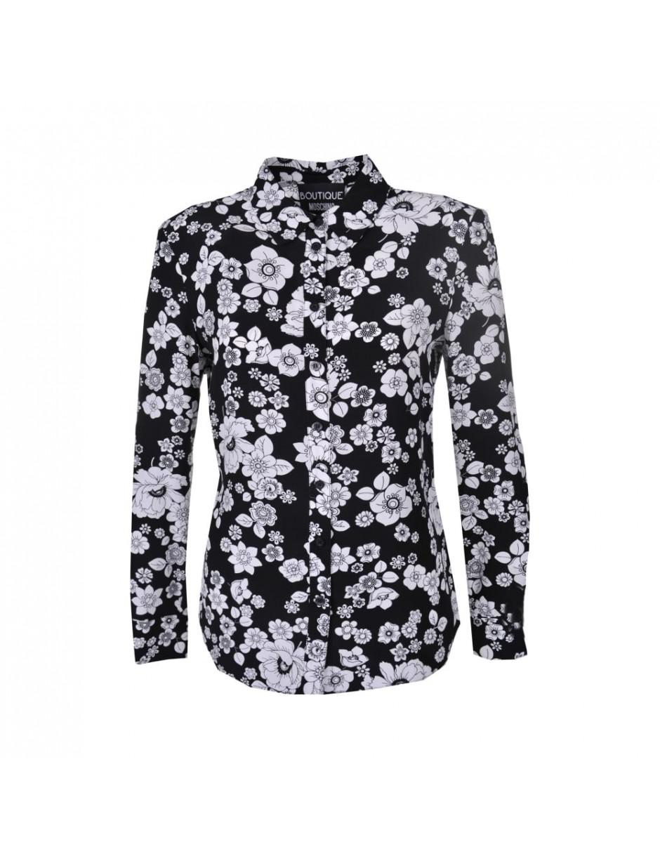Lyst Boutique Moschino Black Shirt With White Flower Print In Black