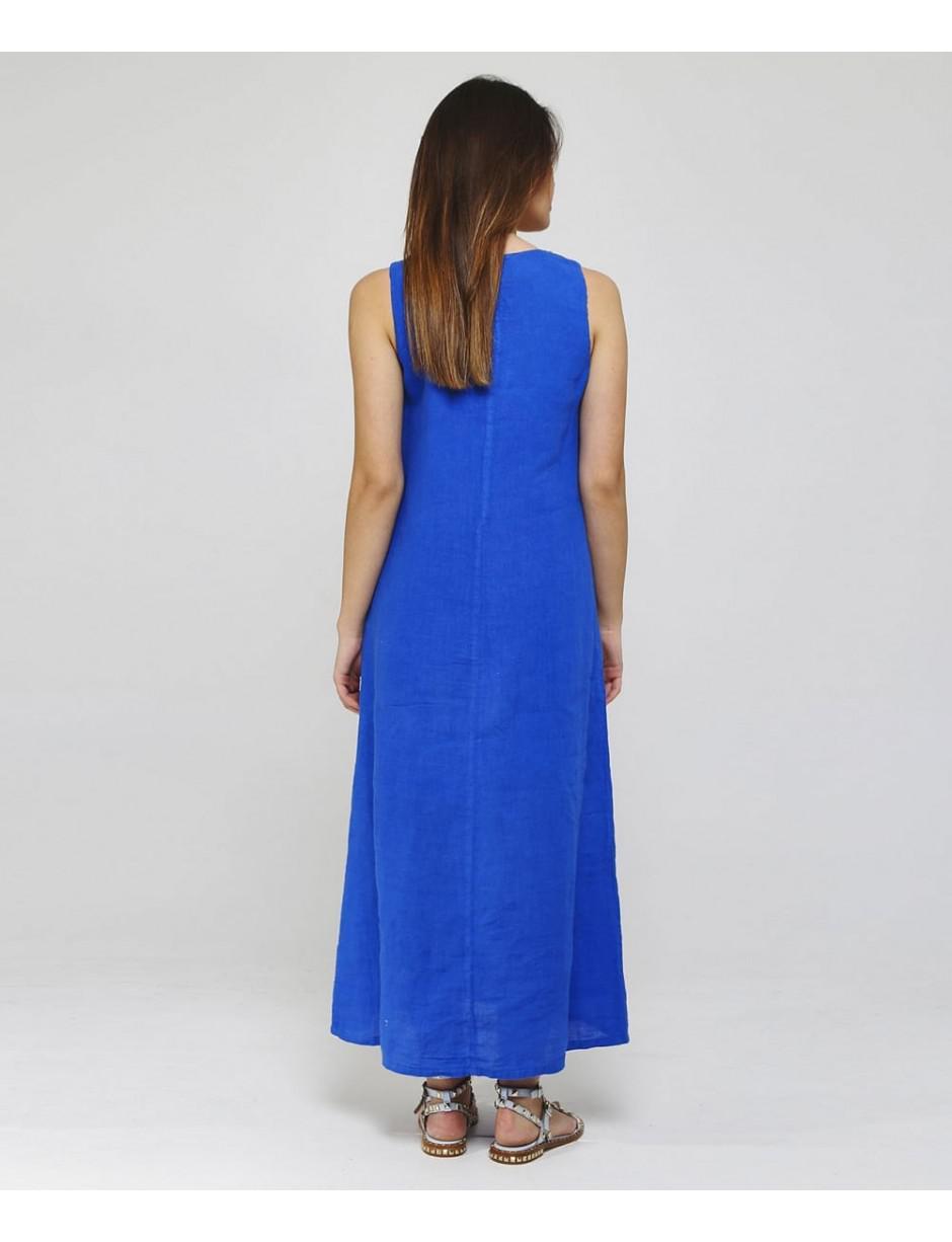 b2e6036767 Lyst - 120% Lino 120% Lino Beaded V-neck Maxi Dress in Blue