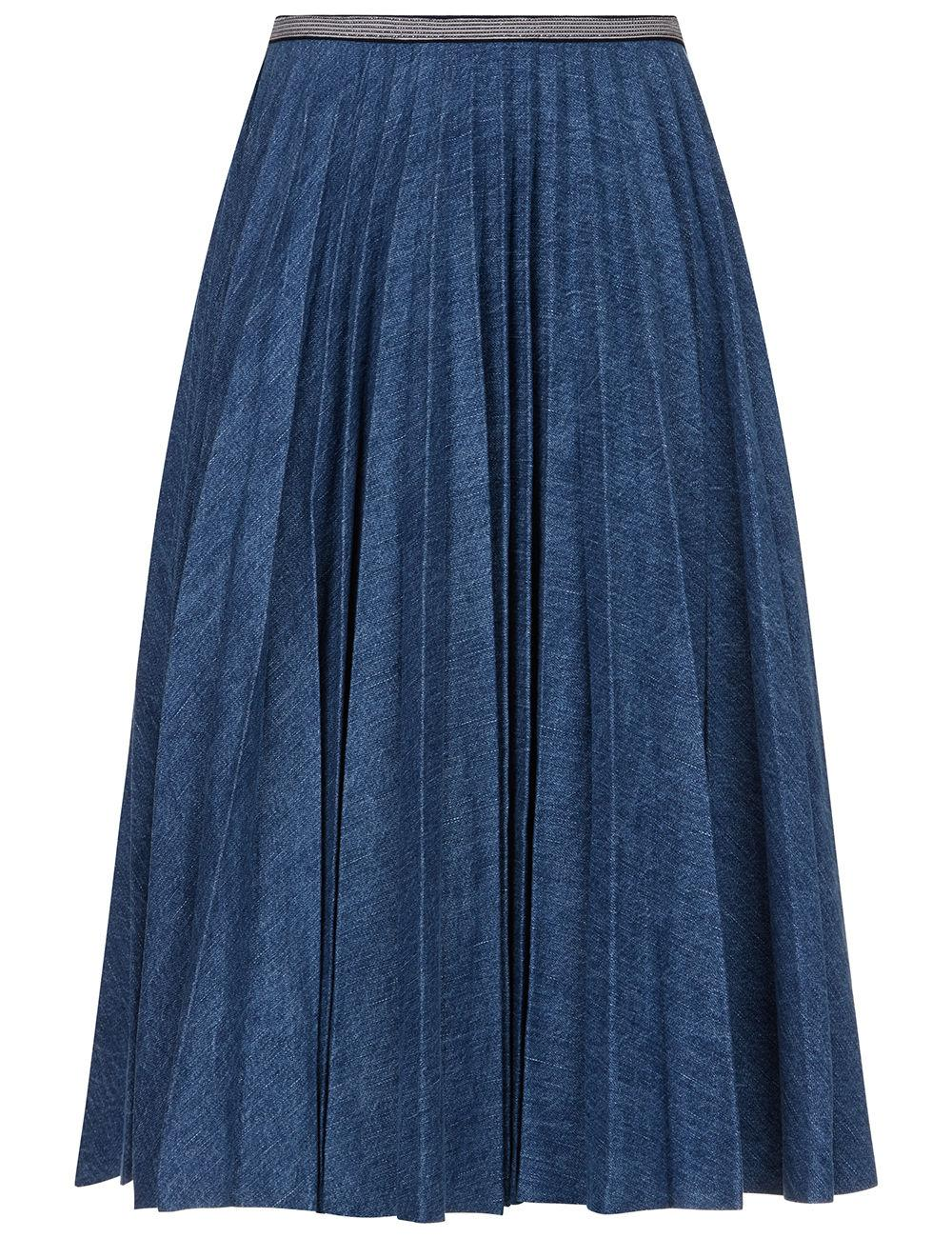 leur logette denim pleated midi skirt in blue lyst