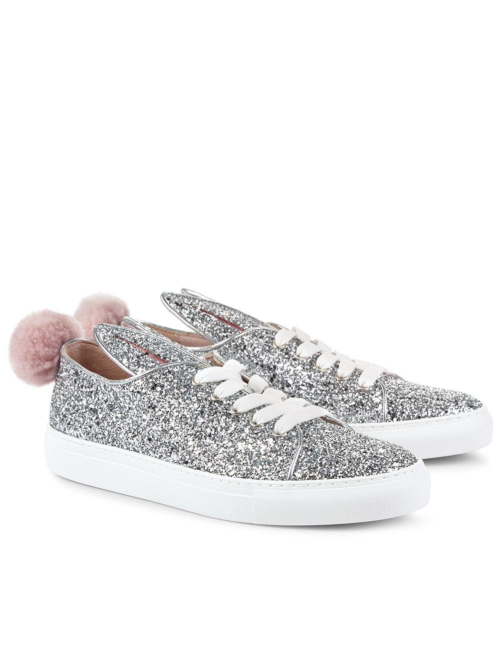 Minna Parikka Silver Glitter Bunny Tail Sneakers In