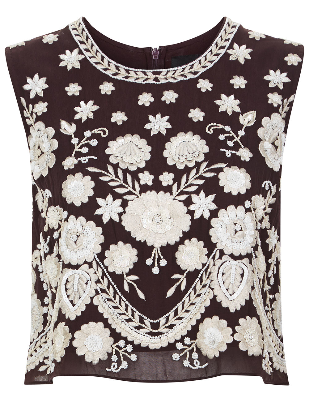 Needle thread aubergine embroidered floral shell top lyst