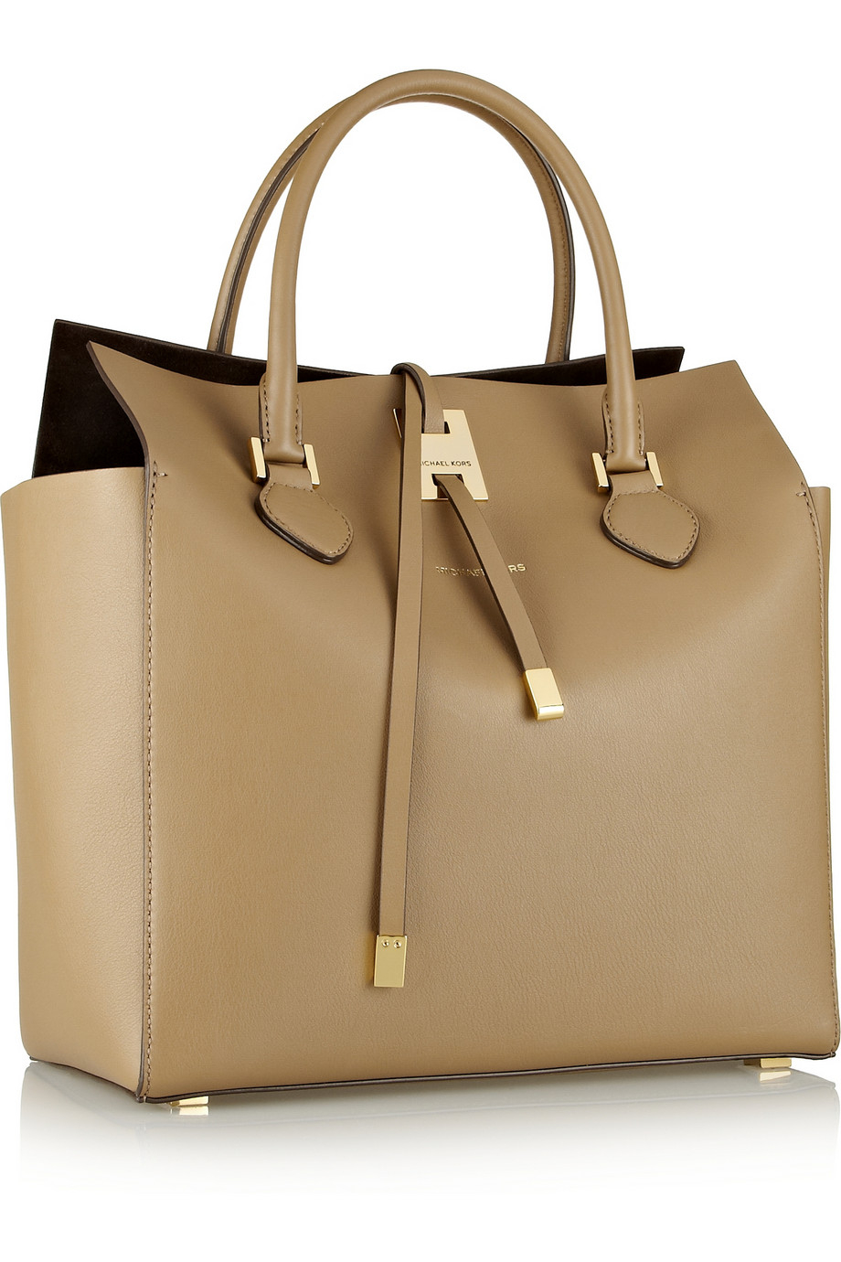 0c03d31a16c5 ... ireland lyst michael kors miranda large leather tote in natural c24f9  9e552