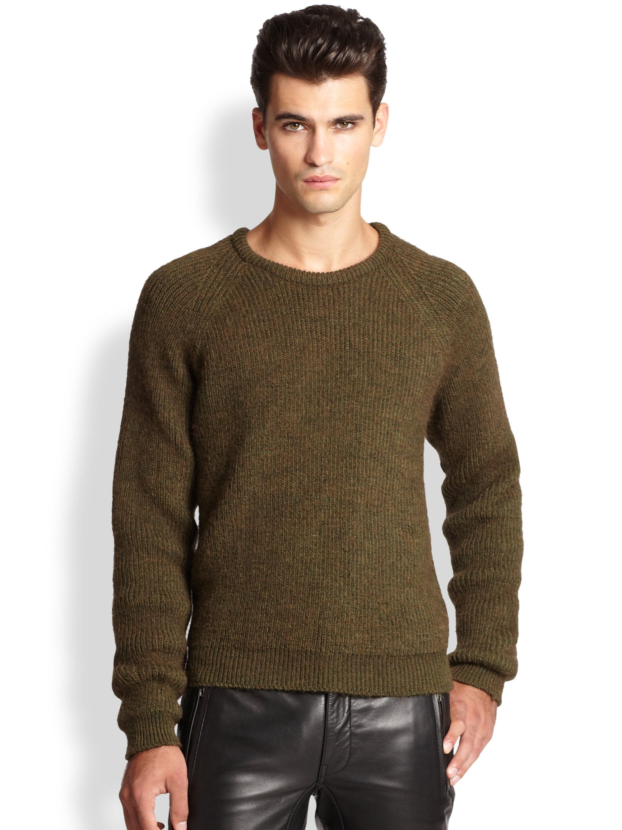 Lyst Blk Dnm Ribbed Raglan Sweater In Green For Men