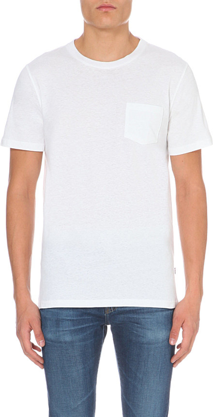 Lyst a p c pocket detail t shirt in white for men for Apc white t shirt