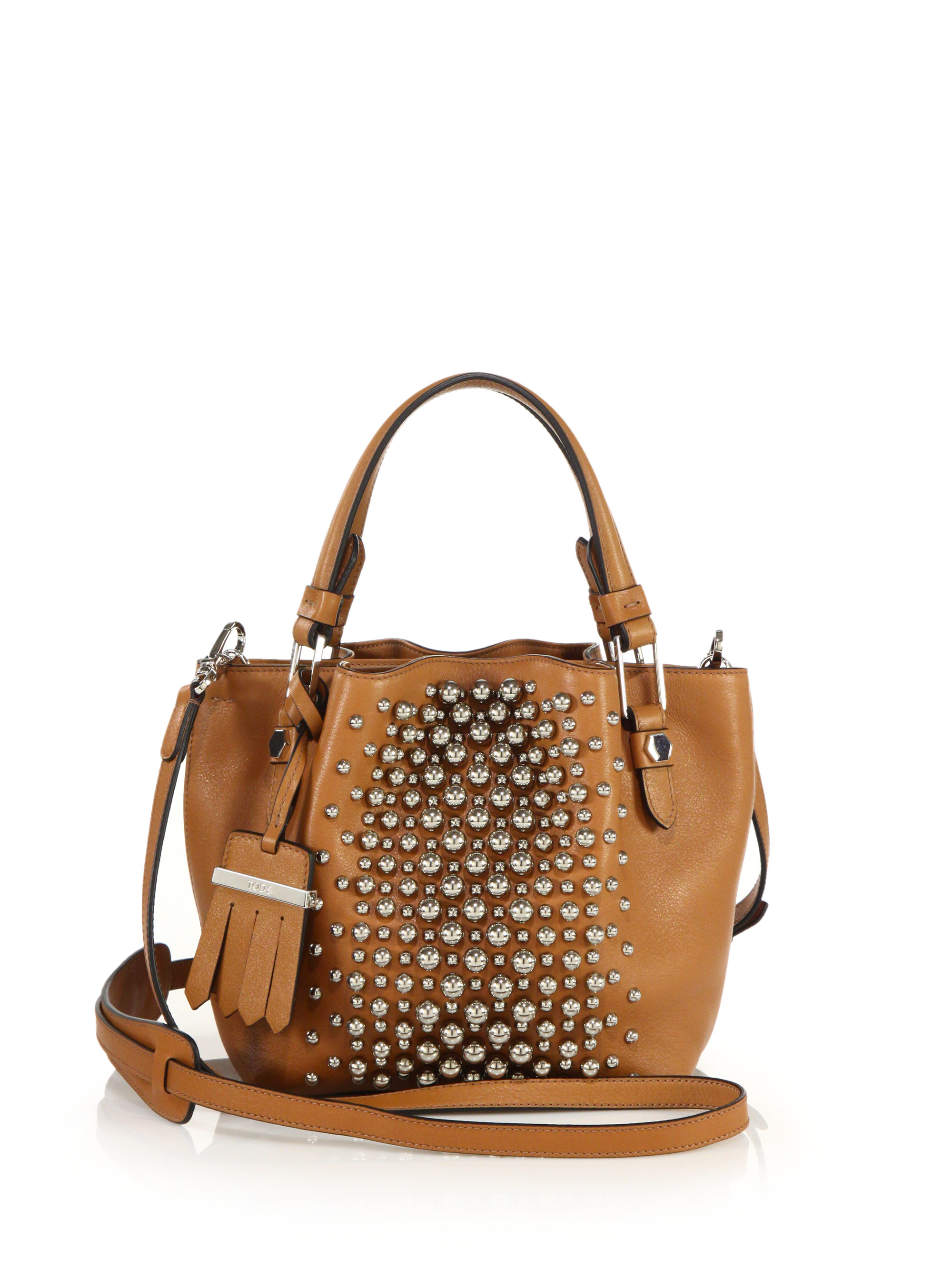 Tod's Flower Micro Studded Leather Tote in Brown | Lyst