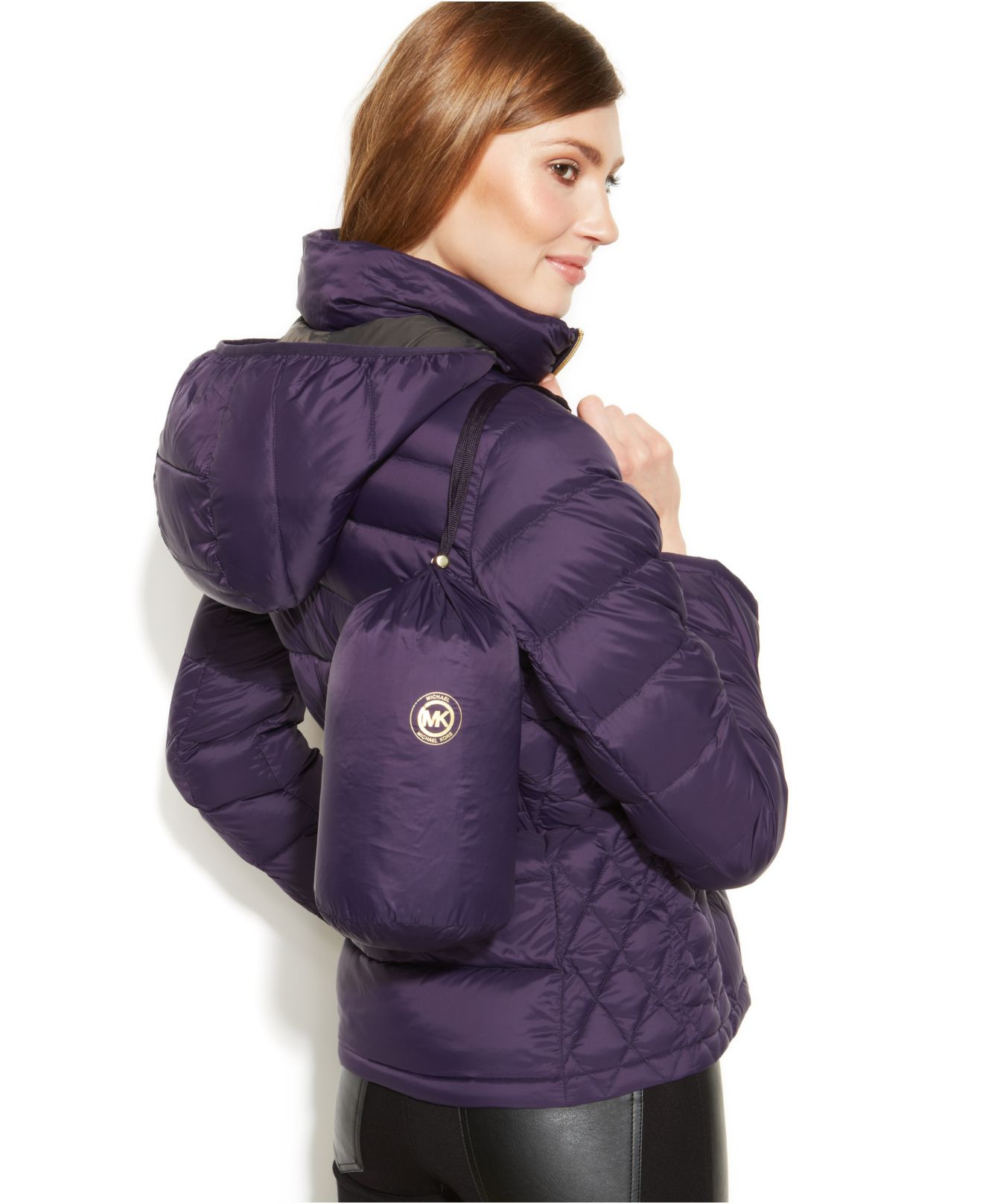3beb8f79bc0 Lyst - Michael Kors Michael Petite Hooded Down Packable Coat in Purple