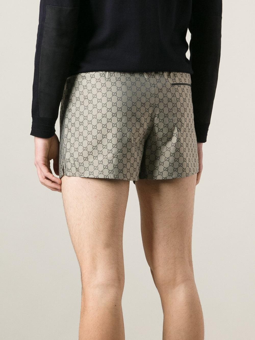 a4065e2158993 Lyst - Gucci Geometric Pattern Swim Shorts in Natural for Men