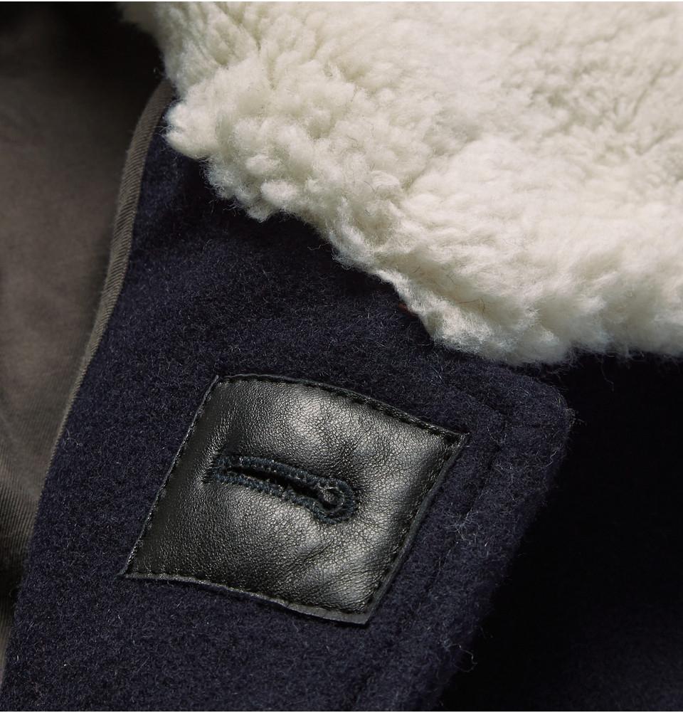 J.Crew Faux-Shearling Trimmed Wool-Felt Jacket in Blue for Men