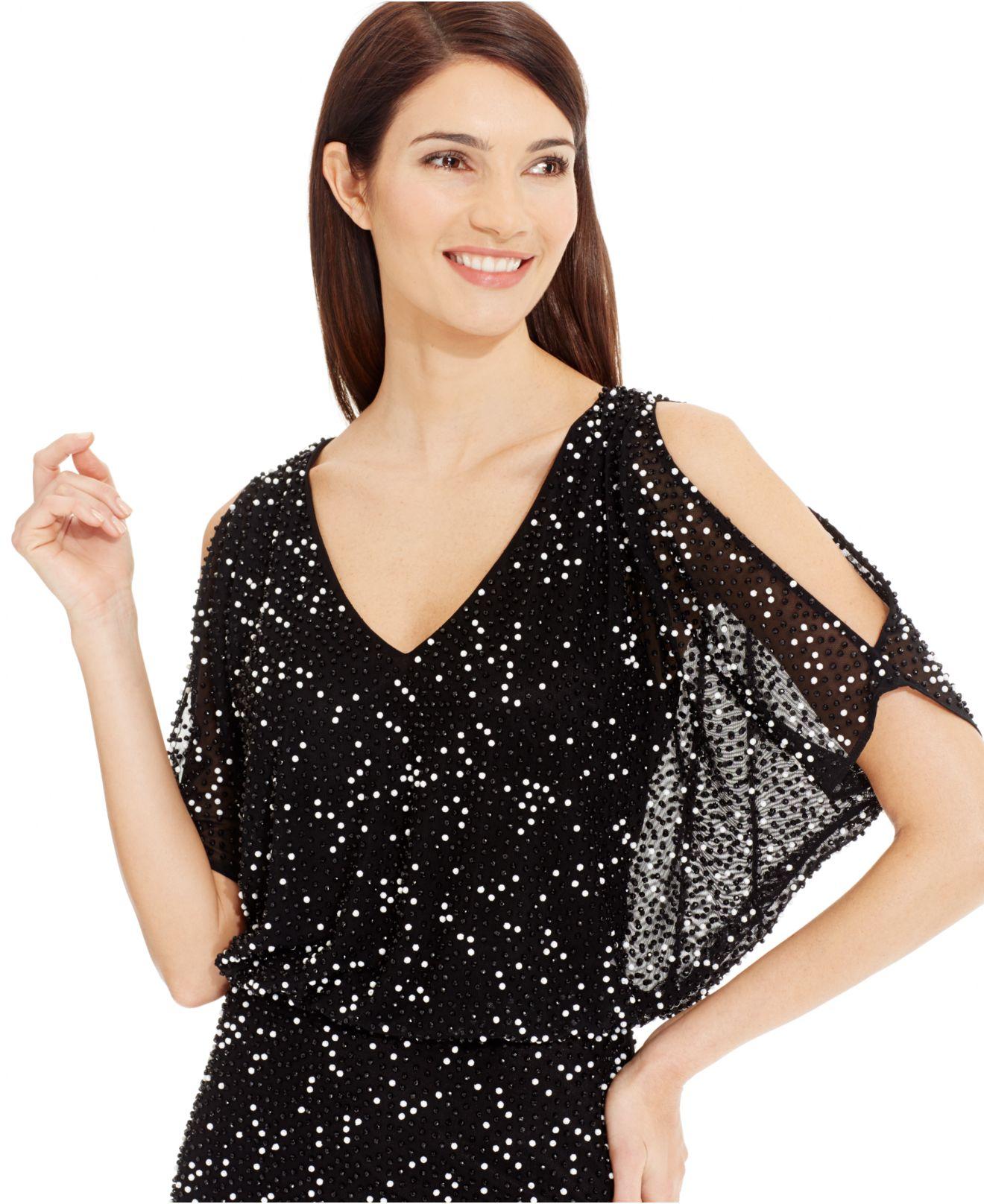 Xscape Beaded Halter Gown In Black Lyst