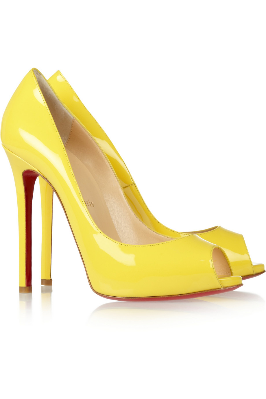 brand new ea3ce 61e0d Christian Louboutin Yellow Flo 120 Patentleather Peeptoe Pumps