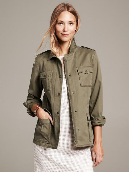 Banana Republic Military Jacket In Green Tigers Eye Green
