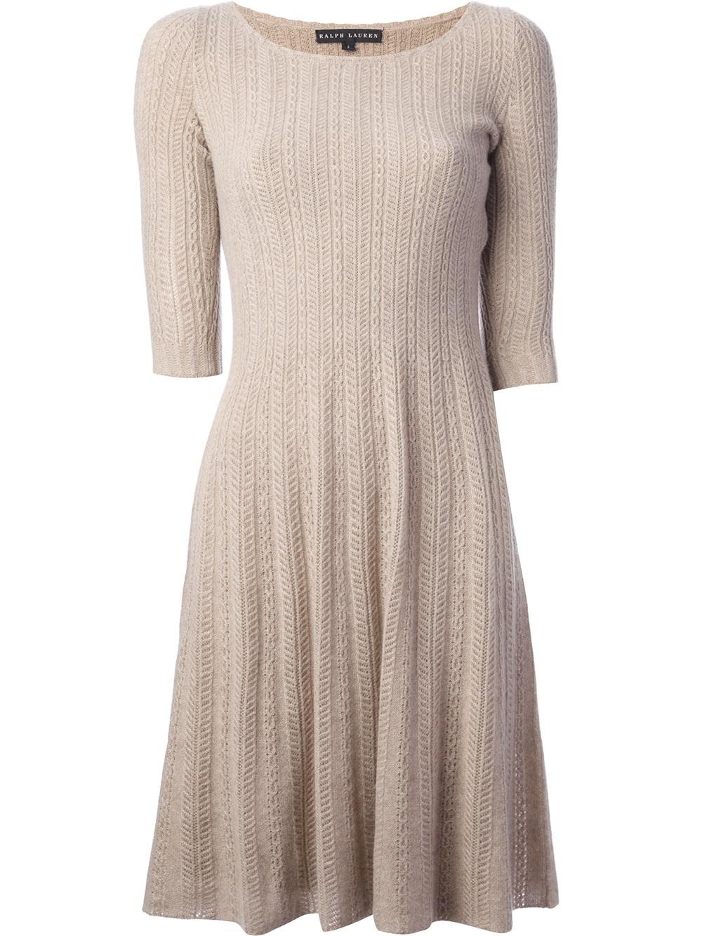 Ralph Lauren Black Label Cable Knit Dress in Beige (nude