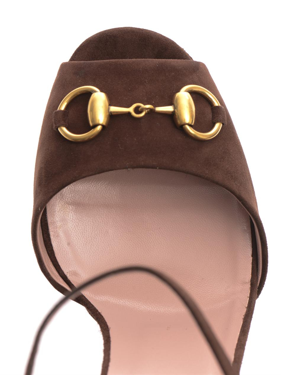 Gucci Claudine Suede Horsebit Sandals In Brown Lyst