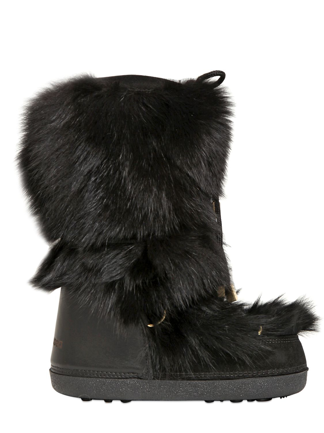 Lyst Dsquared 178 Fox Fur Suede Snow Boots In Black