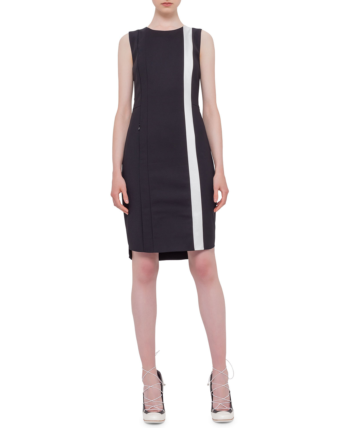 Akris Punto Sleeveless Contrast Stripe Sheath Dress In