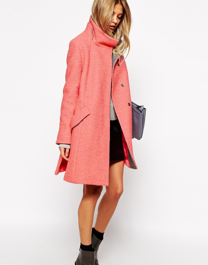 Asos Swing Coat With Funnel Neck In Textured Wool in Pink | Lyst