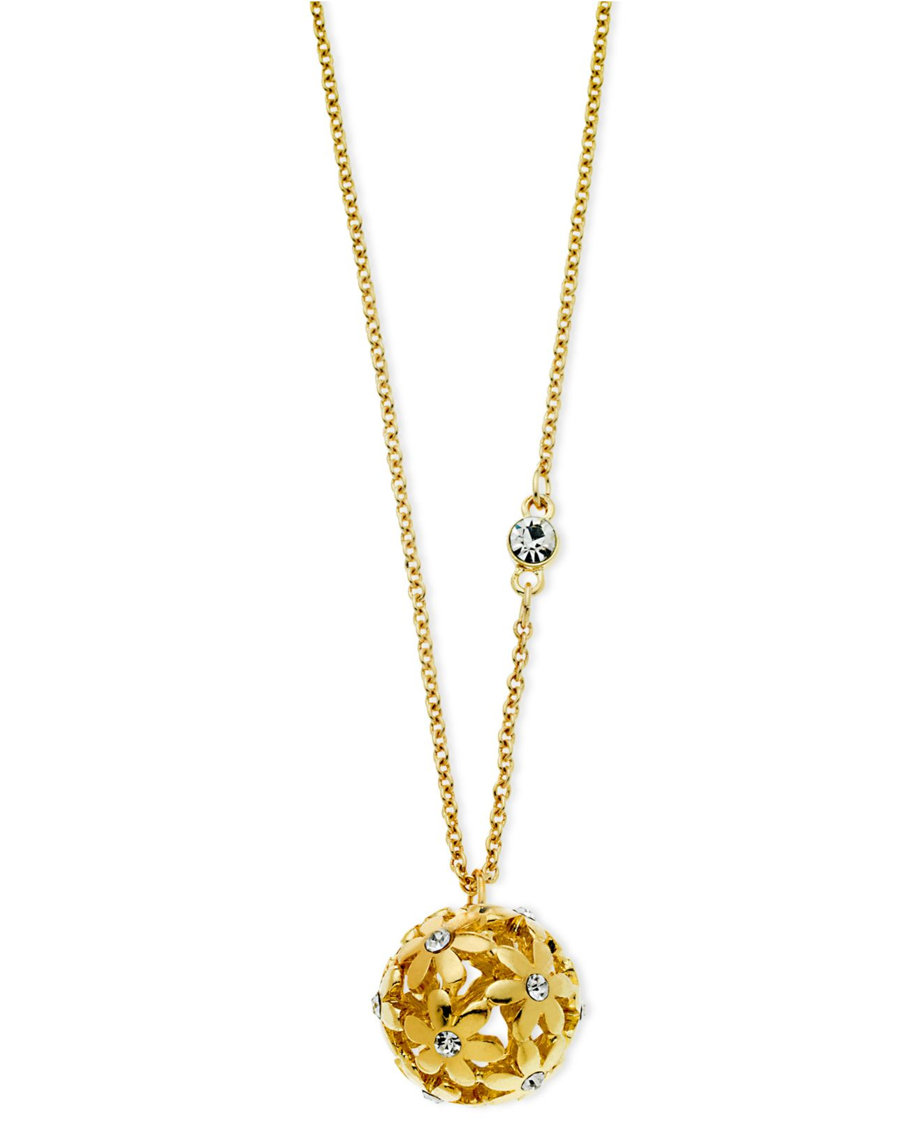 Guess Gold-tone Flower Ball Pendant Necklace in Metallic ...