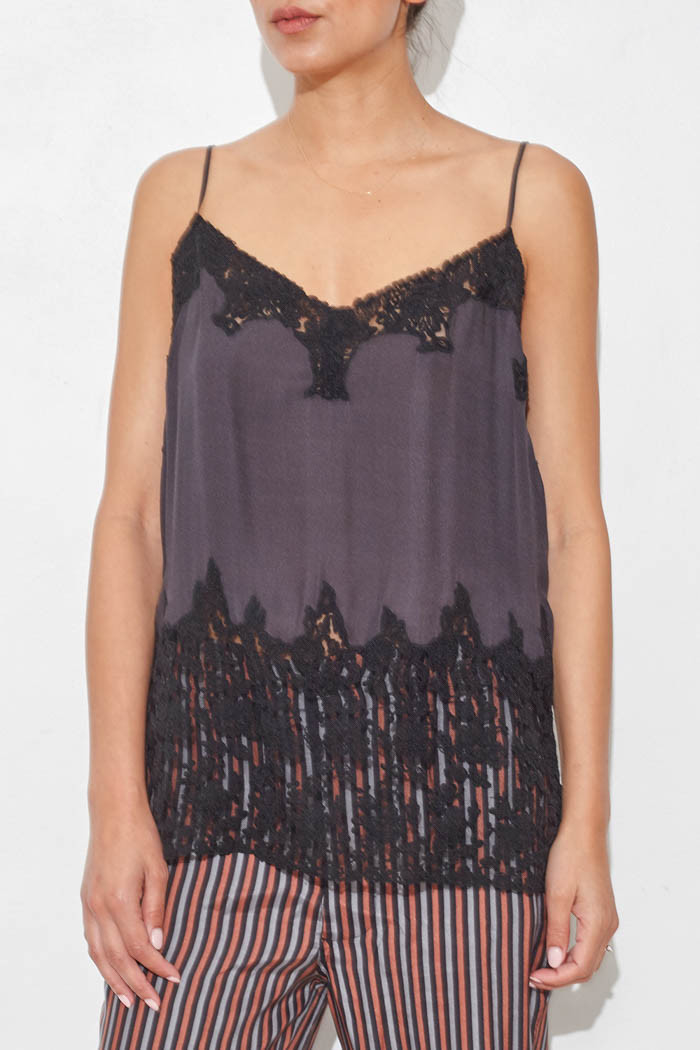 The great Silk Camisole With Lace in Black | Lyst