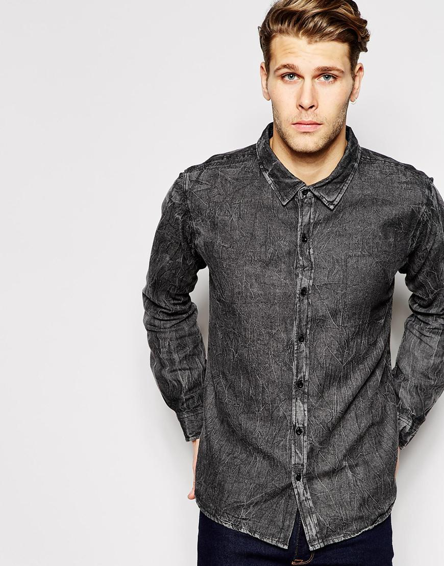 Another influence Denim Shirt in Black for Men | Lyst