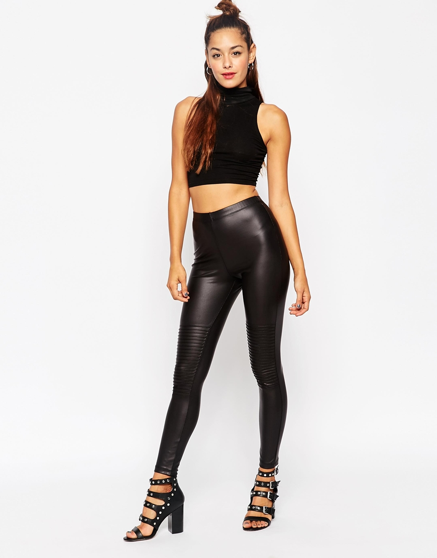 variety styles of 2019 choose genuine best deals on Leather Look Leggings With Biker Knee