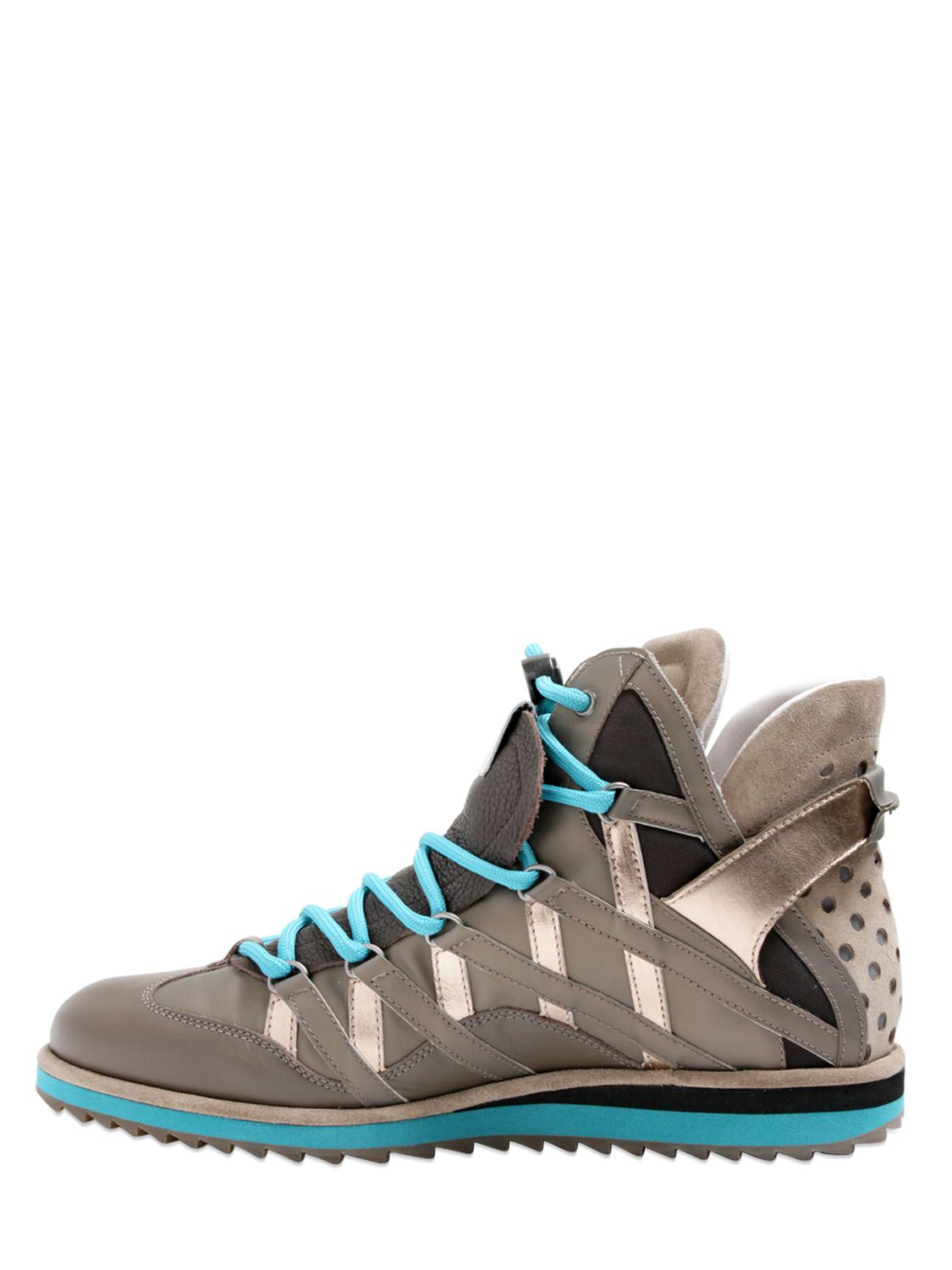 Dolce Amp Gabbana Grained Leather High Top Sneakers In Blue
