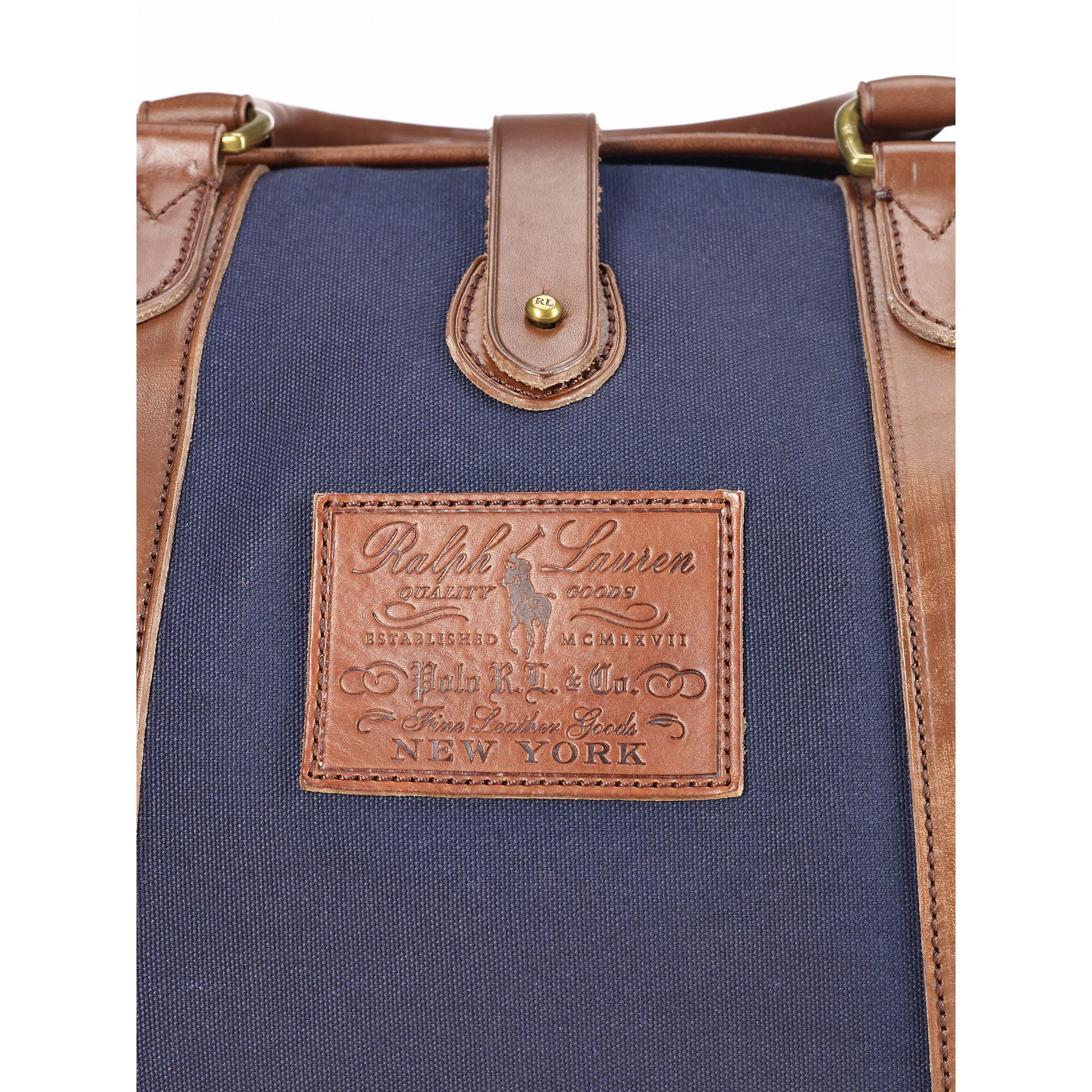 Polo Ralph Lauren. Blue Leather-trim Canvas Gym Bag