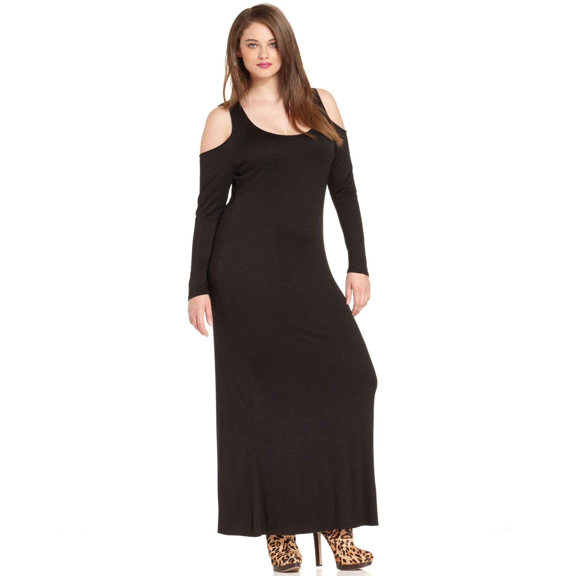 Plus Size Longsleeve Cutout Maxi Dress