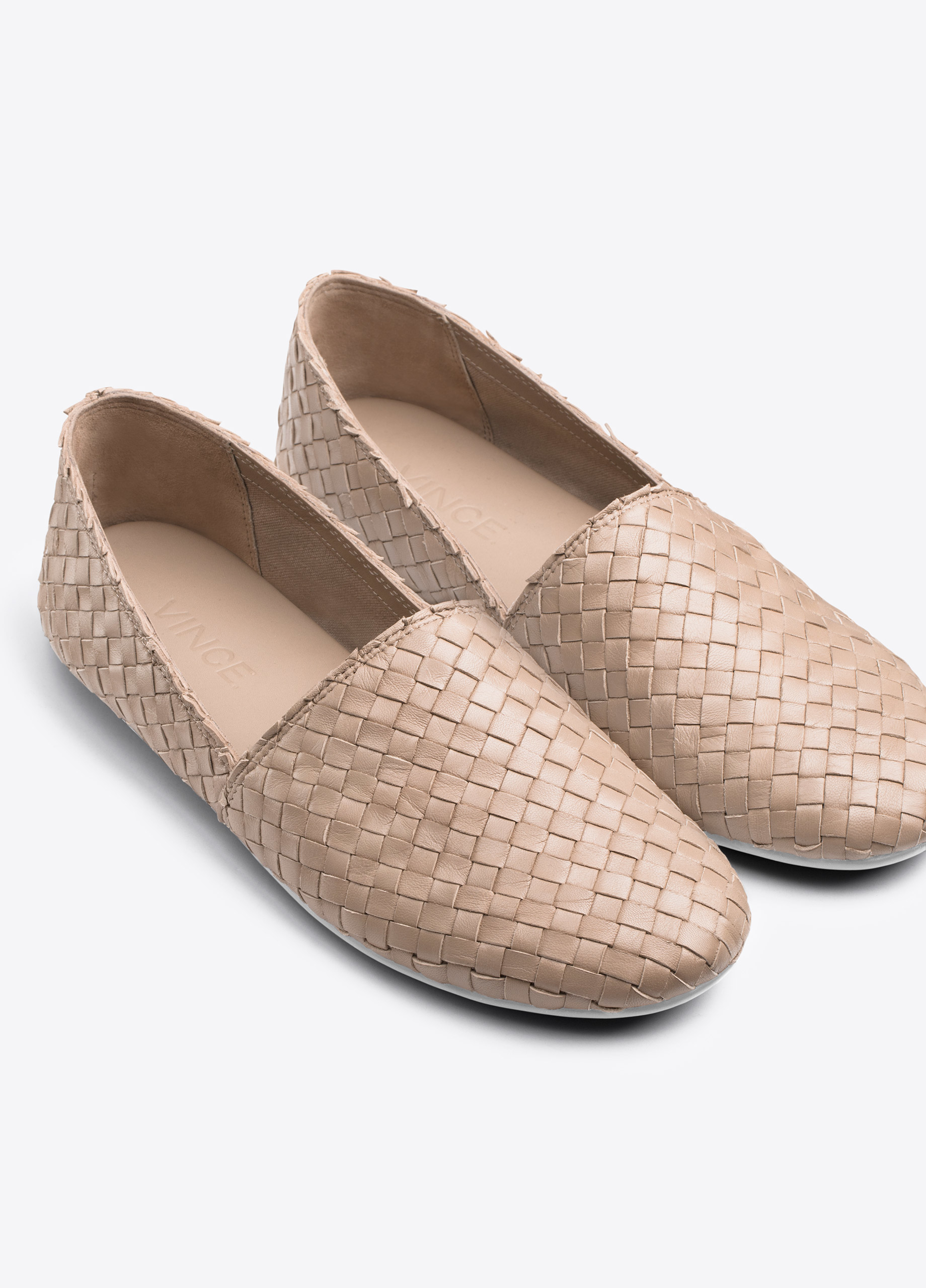 Vince Bogart Woven Leather Flats In Brown Taupe Lyst