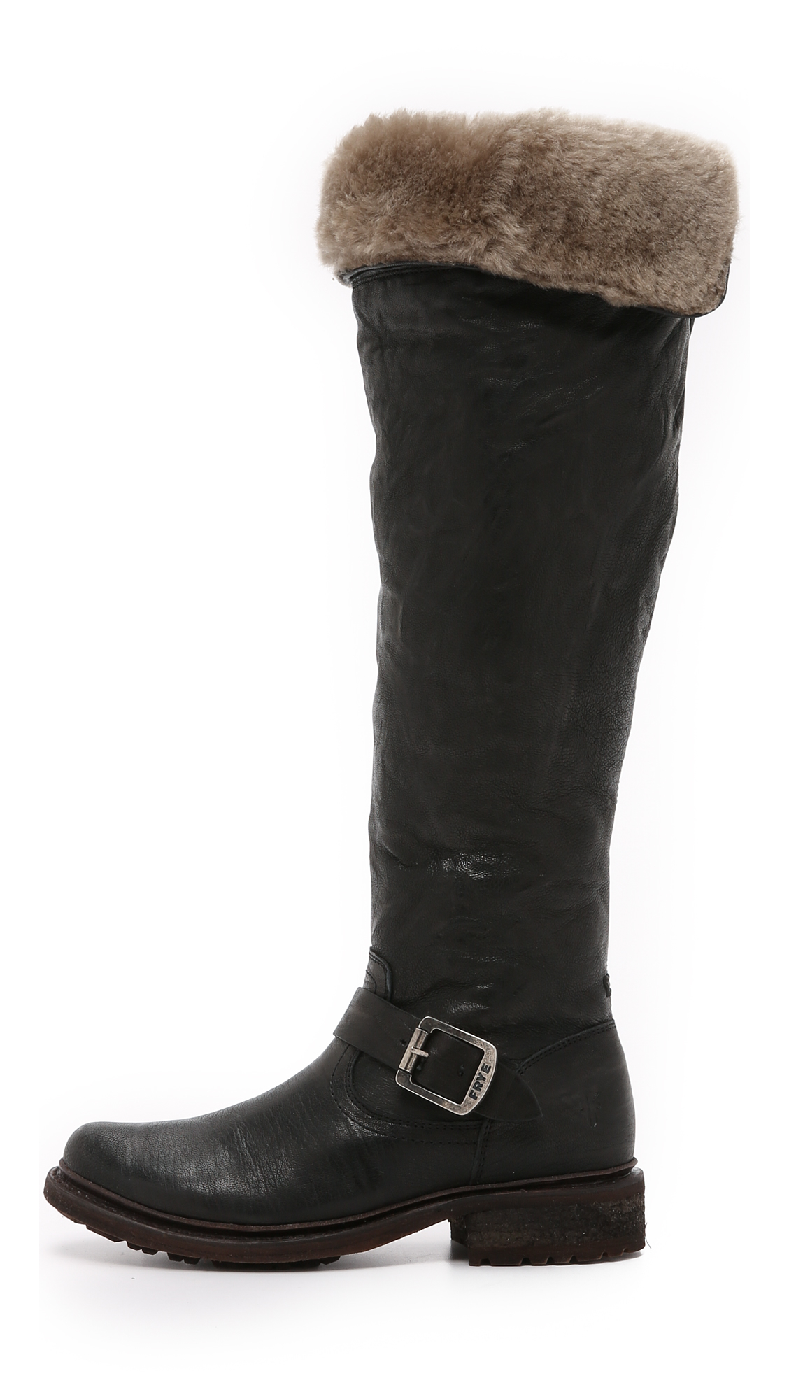 a9ebd8df363 Frye Valerie Shearling Over The Knee Boots in Black - Lyst