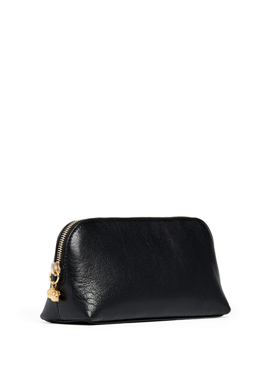 Prism Leather Cosmetic Pouch In Black