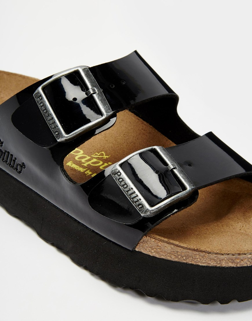f80799d3e680 Lyst - Birkenstock Arizona Platform Patent Black Slider Flat Sandals ...