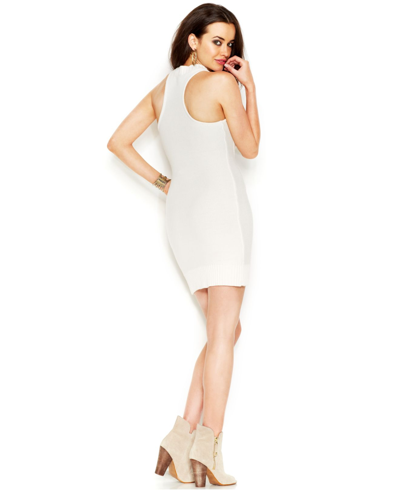 c2294f2307250 Lyst - Guess Sleeveless Mock-Turtleneck Body-Con Sweater Dress in White