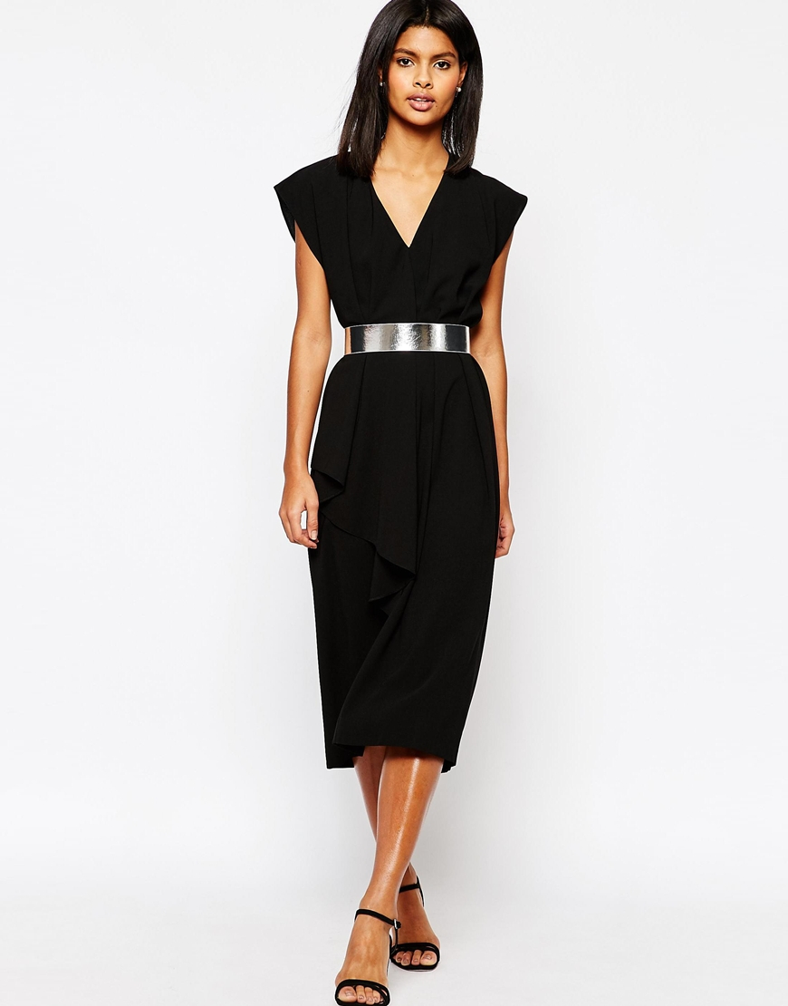 asos asymmetric contemporary midi dress with belt in black