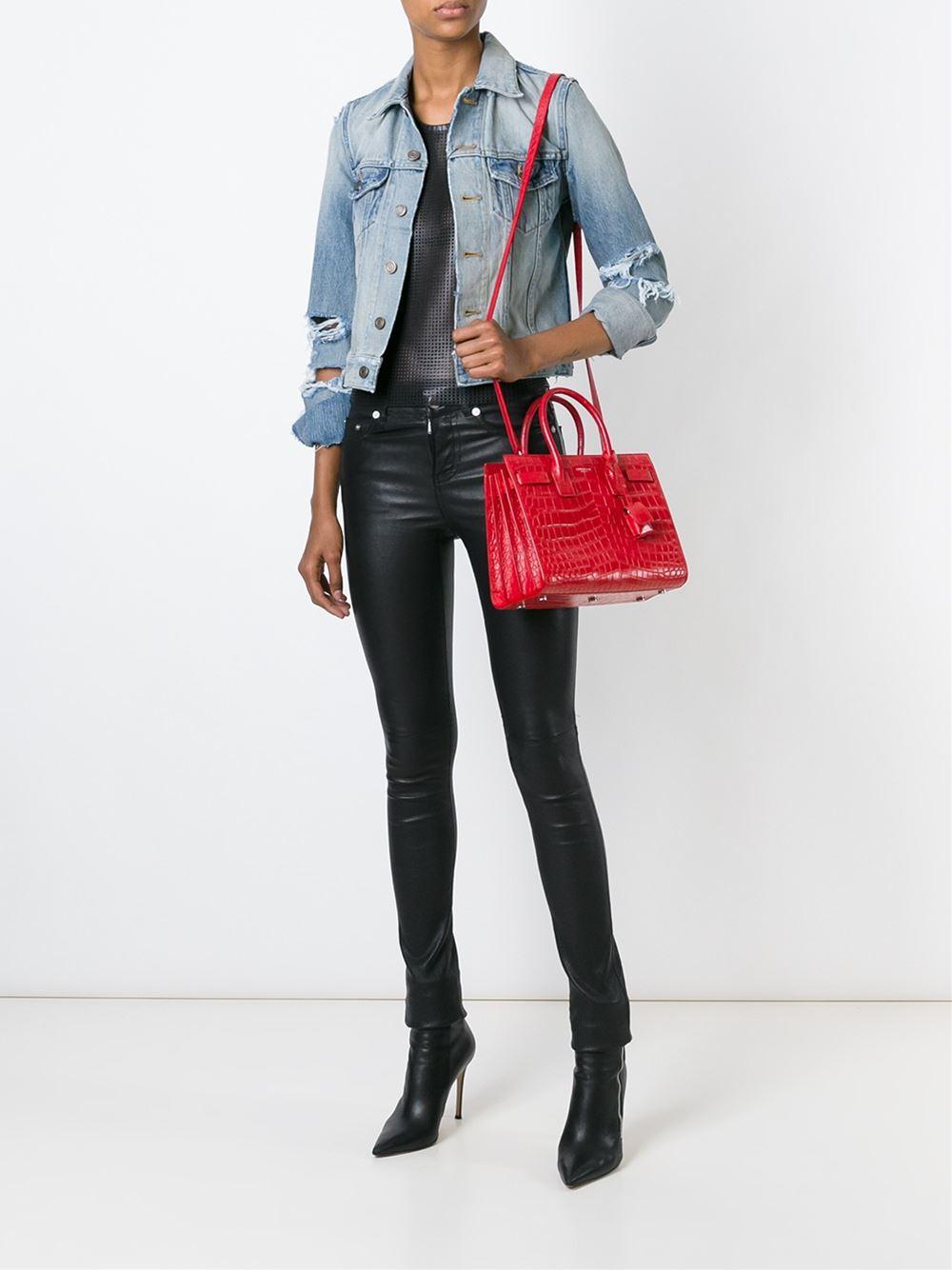ysl cabas chyc medium black - sac de jour crocodile-stamped satchel bag, red