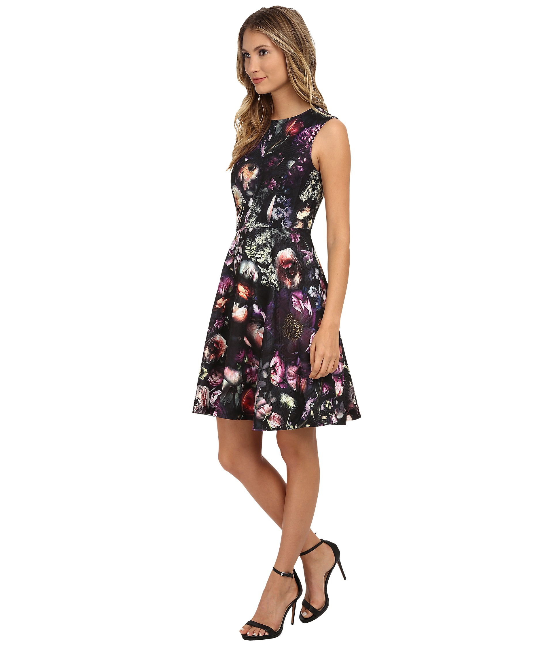 Lyst Ted Baker High Neck Shadow Flora Dress In Gray