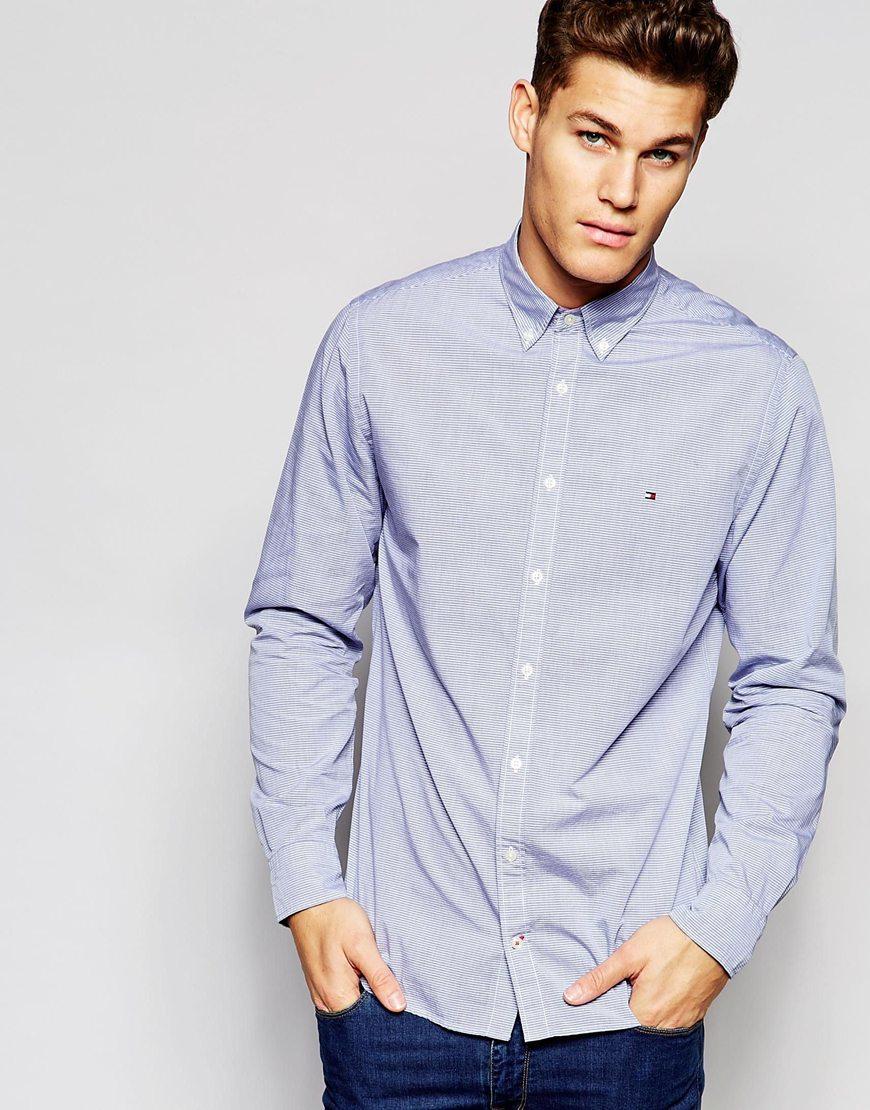 Lyst tommy hilfiger shirt in fine horizontal stripe in for Tommy hilfiger fitzgerald striped shirt