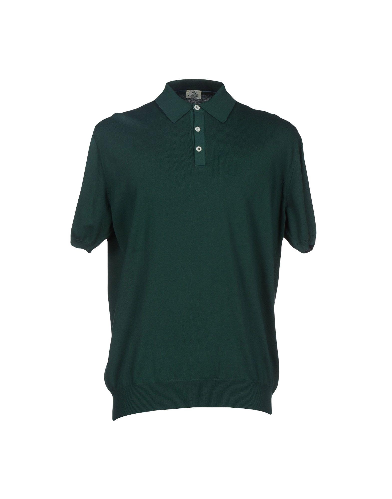 Luigi borrelli napoli polo shirt in green for men dark for Dark green mens polo shirt