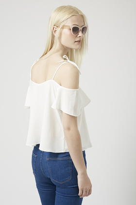 2922a7fe739a41 Lyst - TOPSHOP Petite Tie-strap Bardot Top in White
