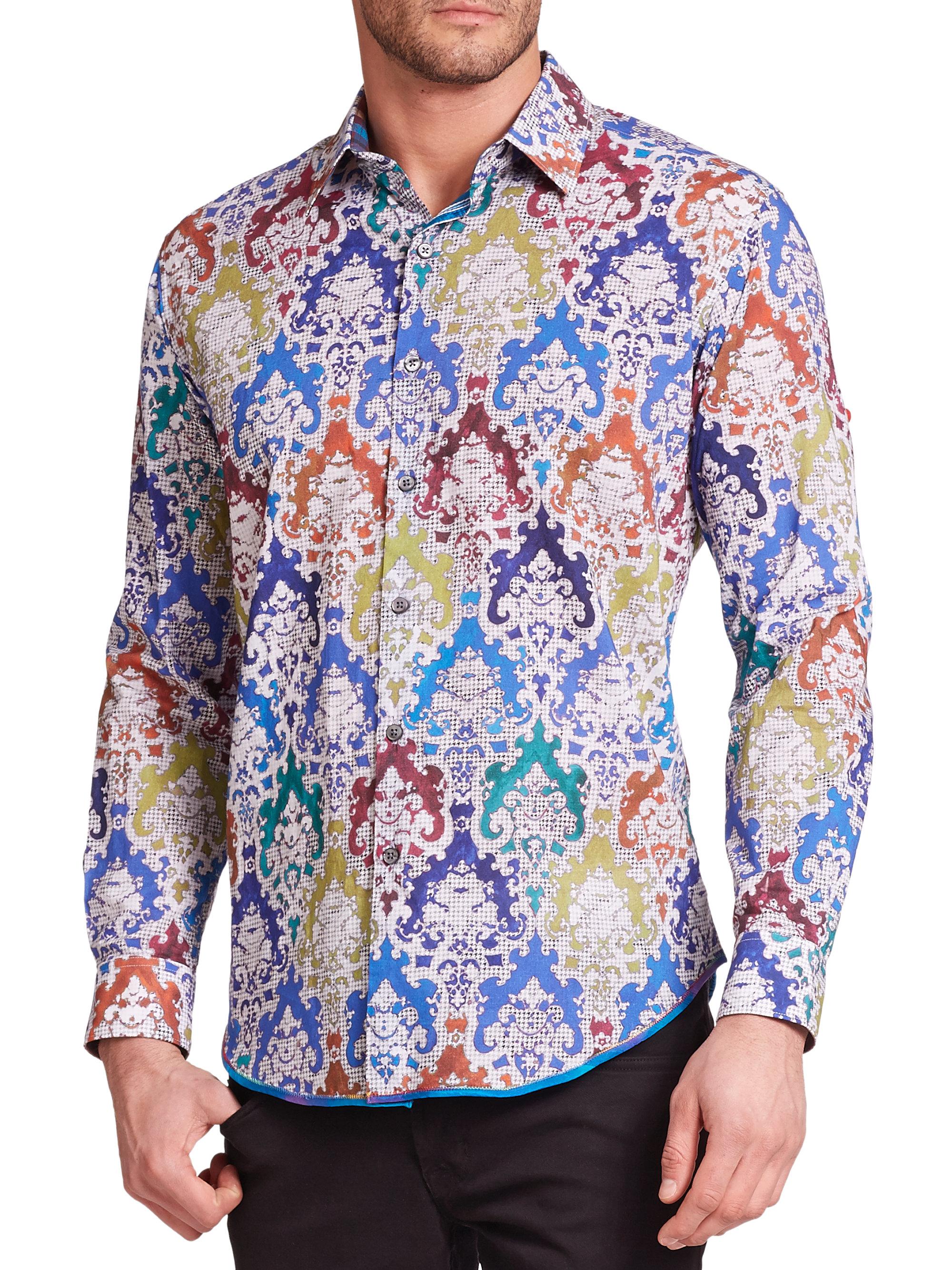 Robert graham finn printed long sleeve sport shirt in for Robert graham tall shirts